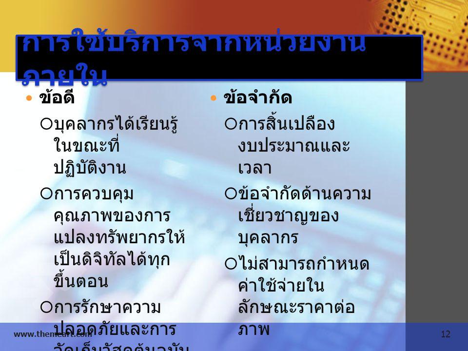 12 www.themeart.com การใช้บริการจากหน่วยงาน ภายใน ข้อดี  บุคลากรได้เรียนรู้ ในขณะที่ ปฏิบัติงาน  การควบคุม คุณภาพของการ แปลงทรัพยากรให้ เป็นดิจิทัลไ