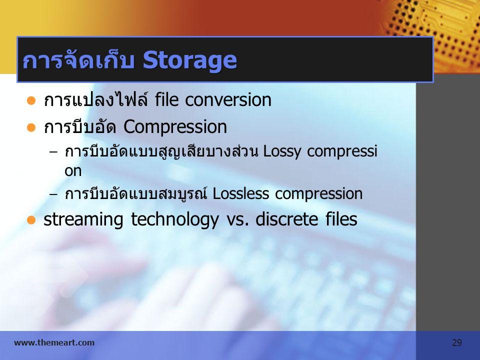 29 www.themeart.com การจัดเก็บ Storage การแปลงไฟล์ file conversion การบีบอัด Compression – การบีบอัดแบบสูญเสียบางส่วน Lossy compressi on – การบีบอัดแบ