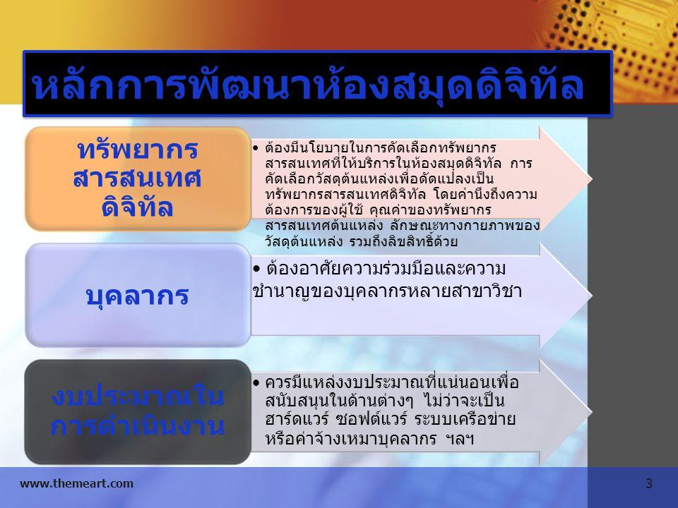 4 www.themeart.com หลักการพัฒนาห้องสมุดดิจิทัล ต้องคำนึงถึงสิทธิ์ในการใช้งาน ควรมีการขอ อนุญาตเจ้าของผลงานต้นฉบับ ลิขสิทธิ์ ควรพัฒนาทรัพยากรสารสนเทศบนมาตรฐานต่าง ๆ เพื่อประโยชน์ในการใช้ในการใช้งานร่วมกัน เช่น Markup language, Metadata, MARC มาตรฐาน ระบบเครือข่าย คอมพิวเตอร์ และอุปกรณ์ในการ แปลงวัสดุต้นแหล่งให้เป็นดิจิทัล ซอฟต์แวร์ใน การจัดการต่างๆ เทคโนโลยี แผนการจัดเก็บและสำรองข้อมูล และถ่ายโอนไป ยังเทคโนโลยีใหม่ที่จะเกิดขึ้นในอนาคต การบำรุงรักษา ทรัพยากรดิจิทัล