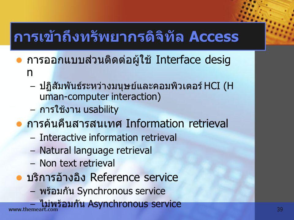 39 www.themeart.com การเข้าถึงทรัพยากรดิจิทัล Access การออกแบบส่วนติดต่อผู้ใช้ Interface desig n – ปฏิสัมพันธ์ระหว่างมนุษย์และคอมพิวเตอร์ HCI (H uman-