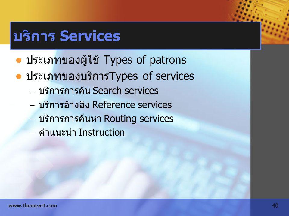 40 www.themeart.com บริการ Services ประเภทของผู้ใช้ Types of patrons ประเภทของบริการTypes of services – บริการการค้น Search services – บริการอ้างอิง R