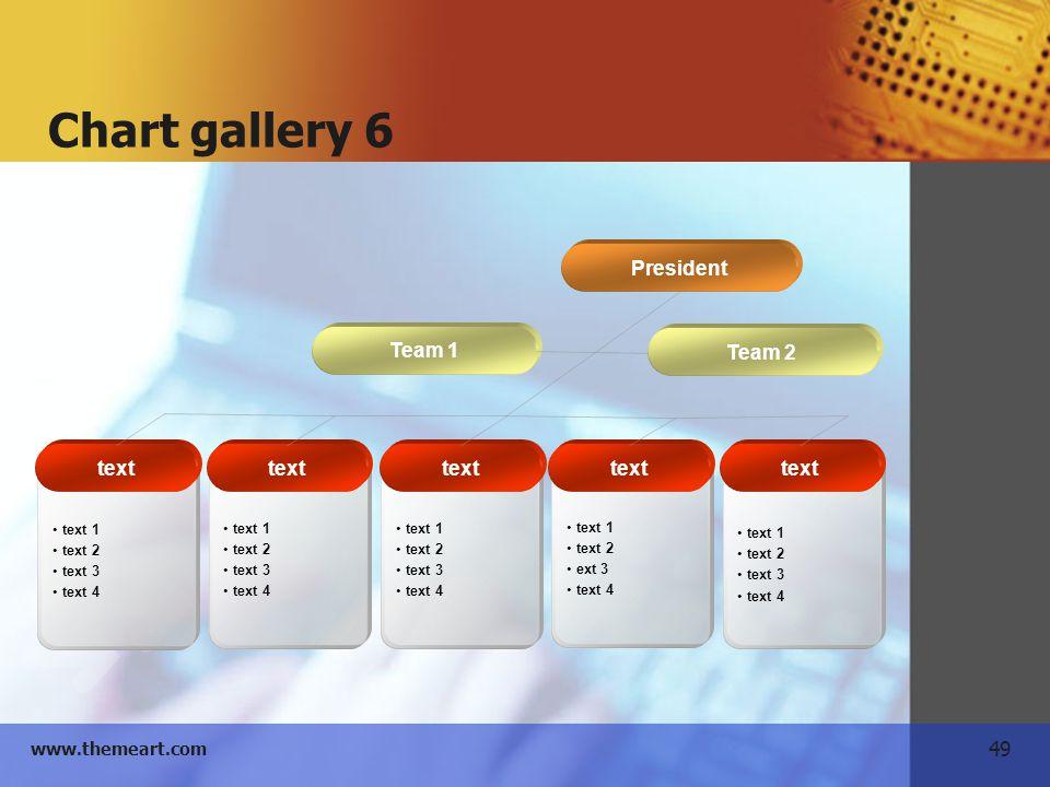 49 www.themeart.com Chart gallery 6 Team 2 Team 1 President text 1 text 2 text 3 text 4 text 1 text 2 text 3 text 4 text 1 text 2 text 3 text 4 text 1