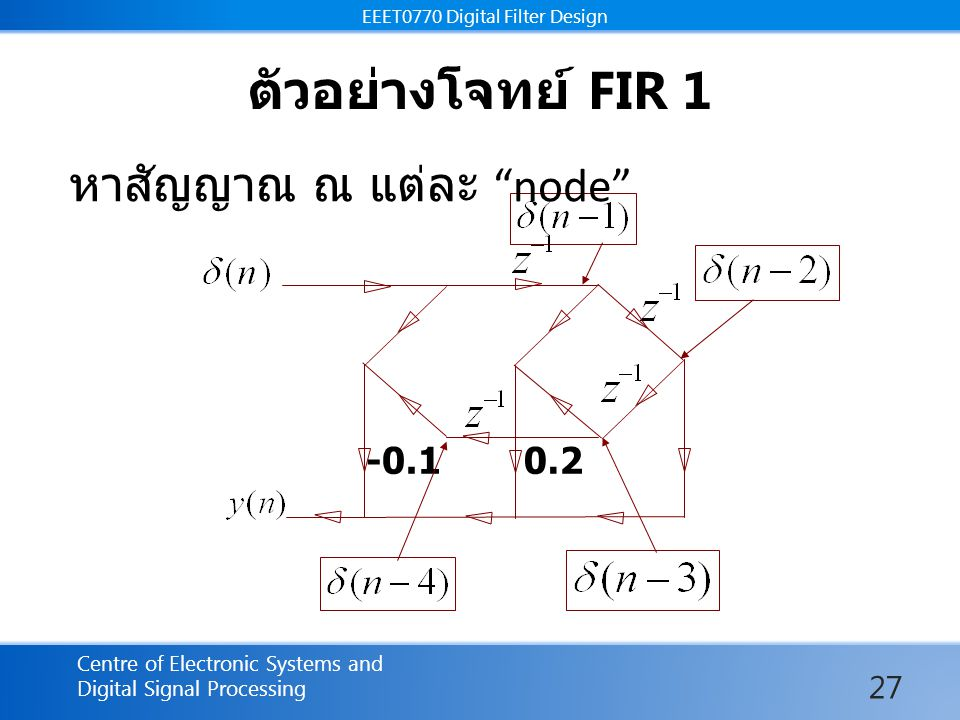 EEET0770 Digital Filter Design Centre of Electronic Systems and Digital Signal Processing EEET0770 Digital Filter Design ตัวอย่างโจทย์ FIR 1 หาสัญญาณ ณ แต่ละ node -0.10.2 27