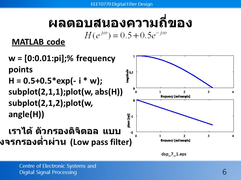 EEET0770 Digital Filter Design Centre of Electronic Systems and Digital Signal Processing EEET0770 Digital Filter Design ผลตอบสนองความถี่ของ dsp_7_1.eps w = [0:0.01:pi];% frequency points H = 0.5+0.5*exp(- i * w); subplot(2,1,1);plot(w, abs(H)) subplot(2,1,2);plot(w, angle(H)) MATLAB code เราได้ ตัวกรองดิจิตอล แบบ วงจรกรองต่ำผ่าน (Low pass filter) 6