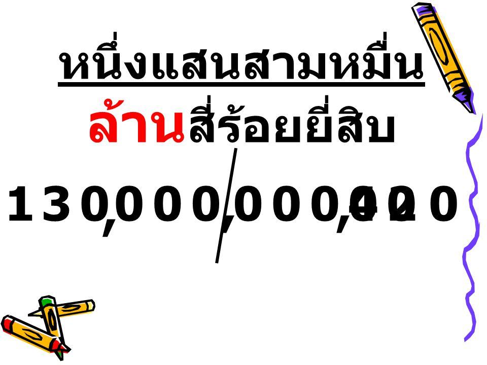 หนึ่งแสนสามหมื่น ล้าน สี่ร้อยยี่สิบ 13000000000042,,,