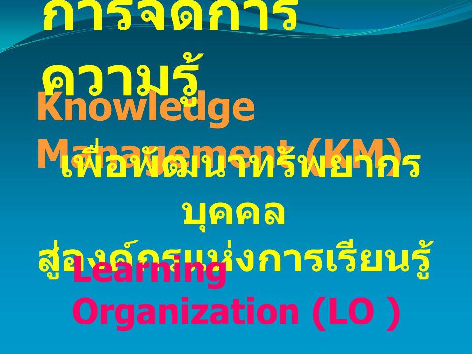 Knowledge Management (KM) การจัดการ ความรู้ เพื่อพัฒนาทรัพยากร บุคคล สู่องค์กรแห่งการเรียนรู้ Learning Organization (LO )