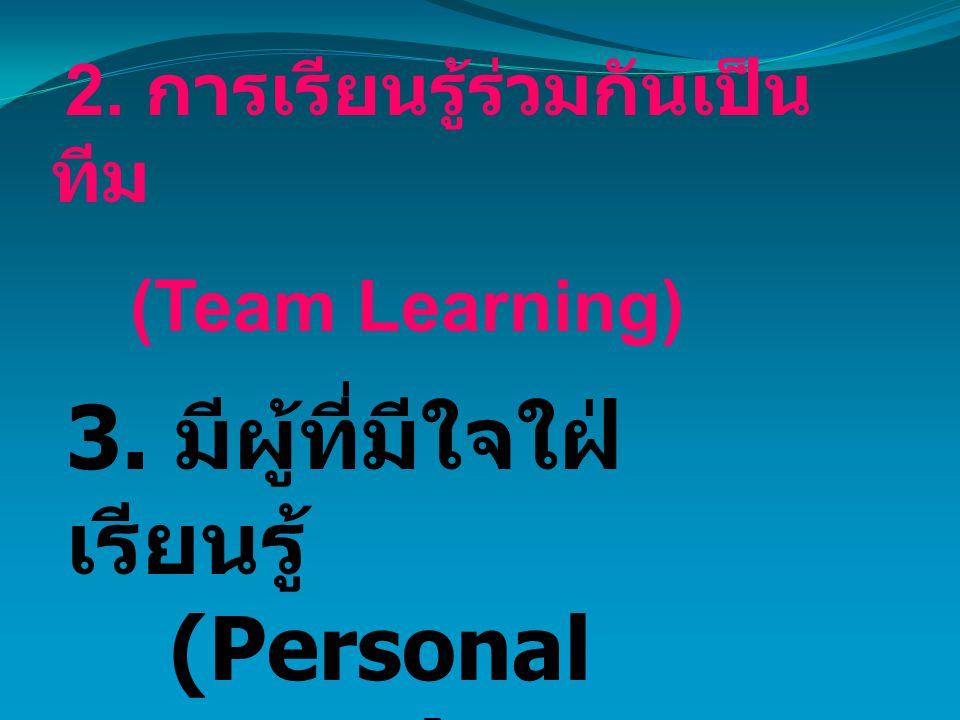 2. การเรียนรู้ร่วมกันเป็น ทีม (Team Learning) 3. มีผู้ที่มีใจใฝ่ เรียนรู้ (Personal Mastery)