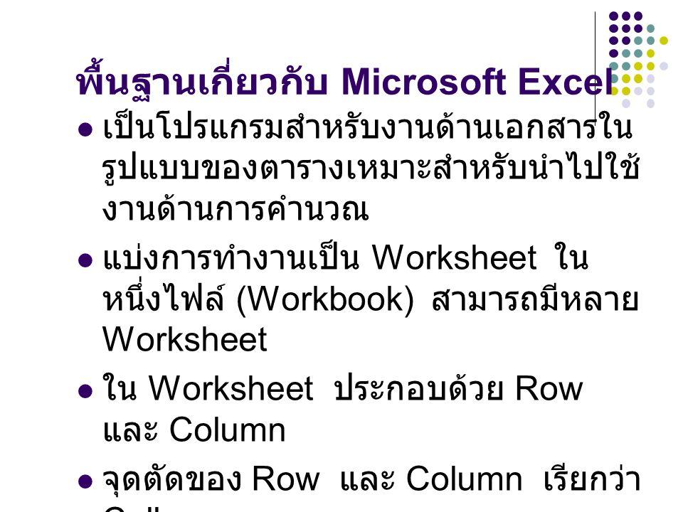 รู้จักกับโปรแกรม Excel 2007 มีอะไรใหม่ใน Excel 2007 Ribbon : ส่วนที่ใช้ติดต่อระหว่างผู้ใช้กับ โปรแกรมแบบใหม่ Office Button : ปุ่มสำหรับการเข้าถึงเมนู พื้นฐานต่างๆ เช่น เช่น New, Open Save, Close เป็นต้น Table Tools : ช่วยในการจัดรูปแบบเซลล์หรือ ตารางให้สวยงามยิ่งขึ้น มีแถวและคอลัมน์มากขึ้น โดยมีแถวทั้งหมด 1,048,576 แถว มีคอลัมน์ 16,384 คอลัมน์ เริ่ม จาก A-Z,AA-AZ,BA-BZ,…..,XFD Chart Tools : เป็นตัวช่วยในการออกแบบ chart การแลกเปลี่ยนข้อมูลร่วมกันระหว่างโปรแกรม