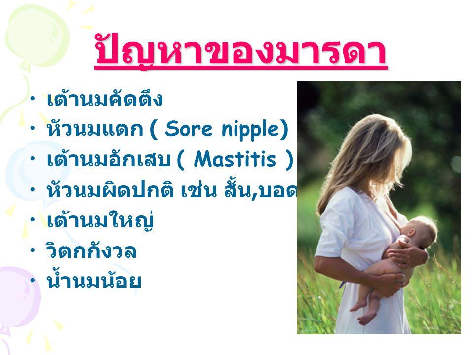 ปัญหาของมารดา ปัญหาของมารดา เต้านมคัดตึง หัวนมแตก ( Sore nipple) เต้านมอักเสบ ( Mastitis ) หัวนมผิดปกติ เช่น สั้น, บอด, แบน, บุ๋ม, ยาว เต้านมใหญ่ วิตกกังวล น้ำนมน้อย