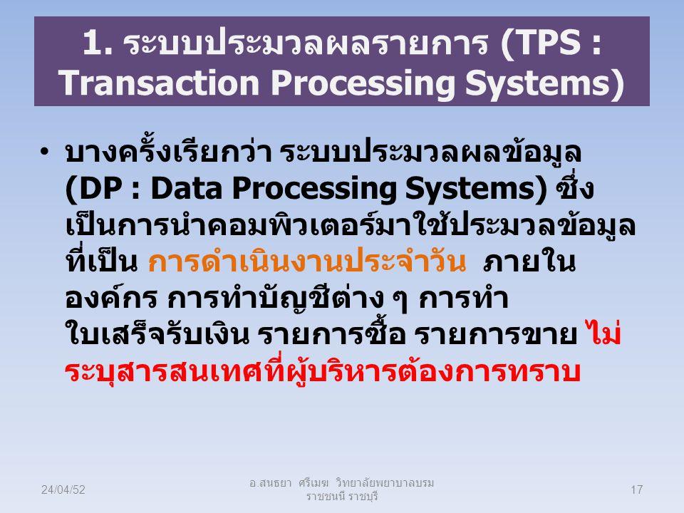1. ระบบประมวลผลรายการ (TPS : Transaction Processing Systems) บางครั้งเรียกว่า ระบบประมวลผลข้อมูล (DP : Data Processing Systems) ซึ่ง เป็นการนำคอมพิวเต