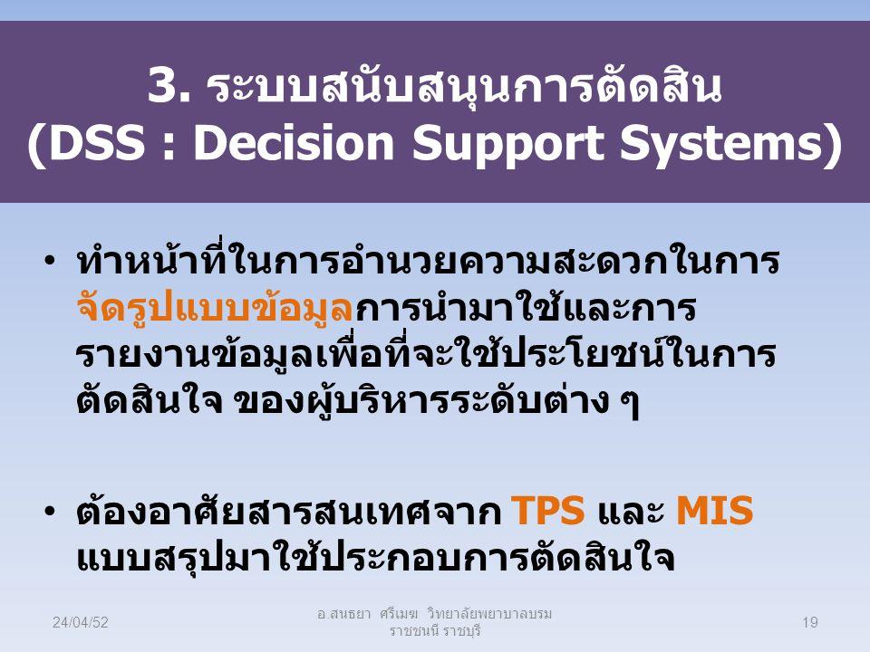 3. ระบบสนับสนุนการตัดสิน (DSS : Decision Support Systems) ทำหน้าที่ในการอำนวยความสะดวกในการ จัดรูปแบบข้อมูลการนำมาใช้และการ รายงานข้อมูลเพื่อที่จะใช้ป
