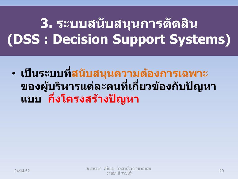 3. ระบบสนับสนุนการตัดสิน (DSS : Decision Support Systems) เป็นระบบที่สนับสนุนความต้องการเฉพาะ ของผู้บริหารแต่ละคนที่เกี่ยวข้องกับปัญหา แบบ กึ่งโครงสร้
