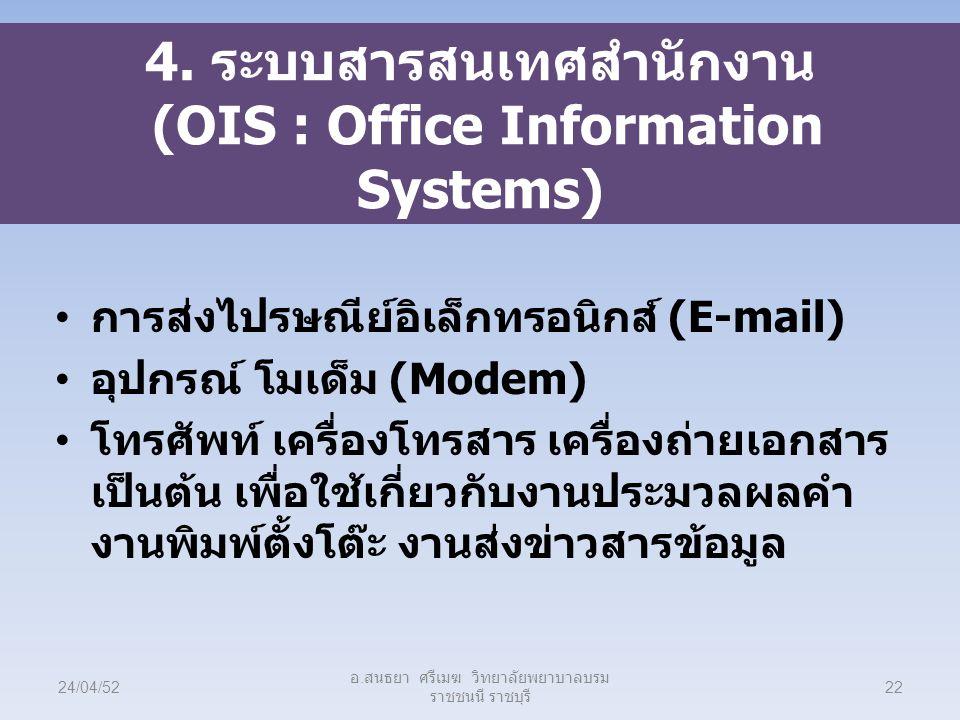 4. ระบบสารสนเทศสำนักงาน (OIS : Office Information Systems) การส่งไปรษณีย์อิเล็กทรอนิกส์ (E-mail) อุปกรณ์ โมเด็ม (Modem) โทรศัพท์ เครื่องโทรสาร เครื่อง