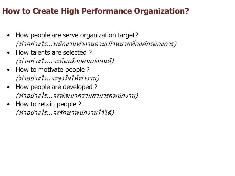 How to Create High Performance Organization? How people are serve organization target? (ทำอย่างไร...พนักงานทำงานตามเป้าหมายที่องค์กรต้องการ) How talen