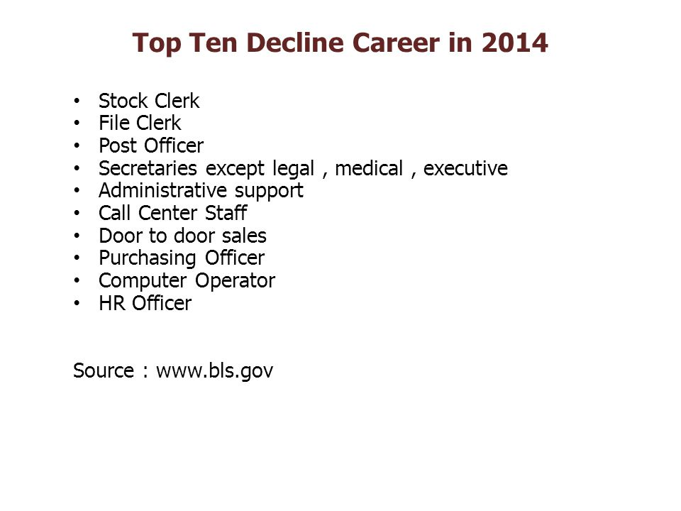 Top Ten Decline Career in 2014 Stock Clerk File Clerk Post Officer Secretaries except legal, medical, executive Administrative support Call Center Sta