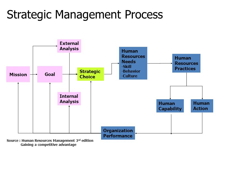 Strategic Management Process Mission Goal External Analysis Internal Analysis Human Resources Needs -Skill -Behavior -Culture Strategic Choice Human R