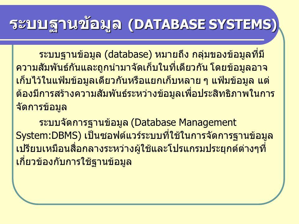 ระบบฐานข้อมูล (DATABASE SYSTEMS) ระบบฐานข้อมูล (database) หมายถึง กลุ่มของข้อมูลที่มี ความสัมพันธ์กันและถูกนำมาจัดเก็บในที่เดียวกัน โดยข้อมูลอาจ เก็บไ