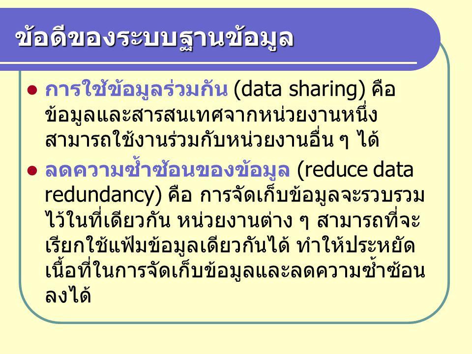 ข้อดีของระบบฐานข้อมูล การใช้ข้อมูลร่วมกัน (data sharing) คือ ข้อมูลและสารสนเทศจากหน่วยงานหนึ่ง สามารถใช้งานร่วมกับหน่วยงานอื่น ๆ ได้ ลดความซ้ำซ้อนของข