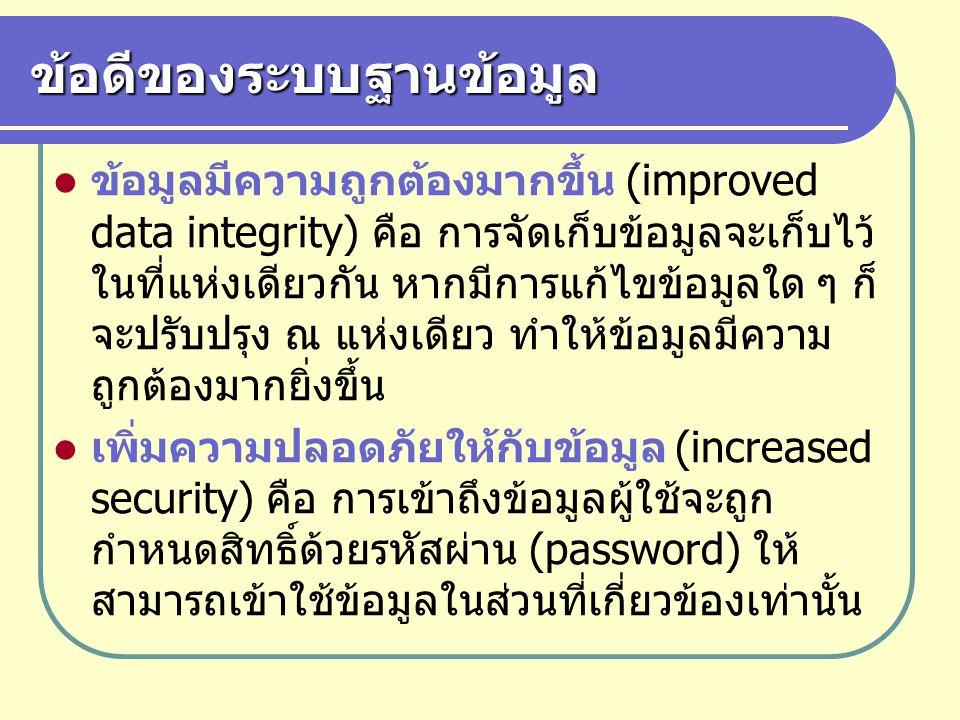 ข้อดีของระบบฐานข้อมูล ข้อมูลมีความถูกต้องมากขึ้น (improved data integrity) คือ การจัดเก็บข้อมูลจะเก็บไว้ ในที่แห่งเดียวกัน หากมีการแก้ไขข้อมูลใด ๆ ก็