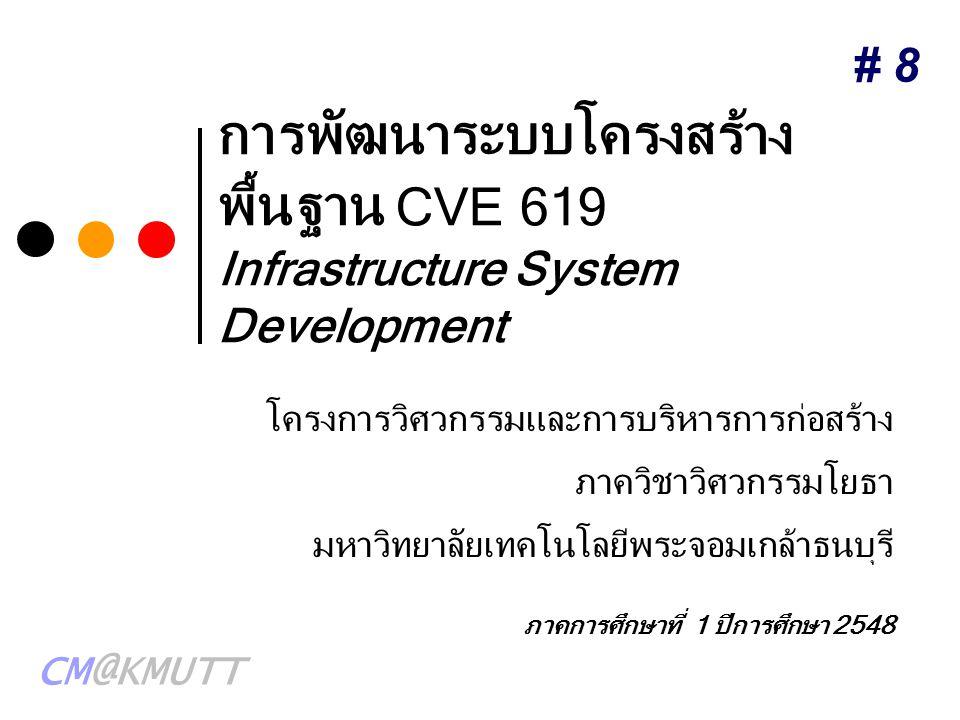 CM@KMUTT การพัฒนาระบบโครงสร้าง พื้นฐาน CVE 619 Infrastructure System Development โครงการวิศวกรรมและการบริหารการก่อสร้าง ภาควิชาวิศวกรรมโยธา มหาวิทยาลั
