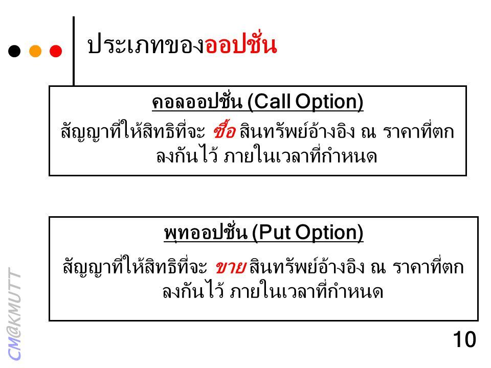 CM@KMUTT 10 ประเภทของออปชั่น พุทออปชั่น (Put Option) สัญญาที่ให้สิทธิที่จะ ขาย สินทรัพย์อ้างอิง ณ ราคาที่ตก ลงกันไว้ ภายในเวลาที่กำหนด คอลออปชั่น (Cal