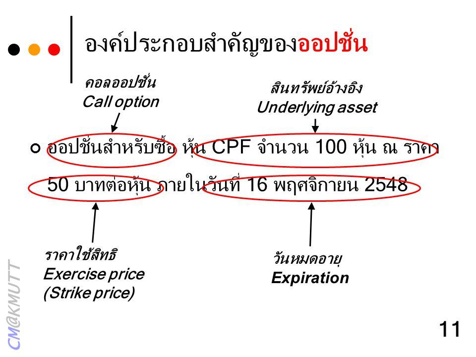 CM@KMUTT 11 องค์ประกอบสำคัญของออปชั่น ออปชั่นสำหรับซื้อ หุ้น CPF จำนวน 100 หุ้น ณ ราคา 50 บาทต่อหุ้น ภายในวันที่ 16 พฤศจิกายน 2548 คอลออปชั่น Call opt