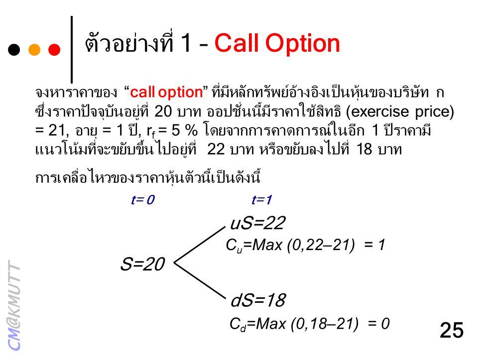 """CM@KMUTT 25 ตัวอย่างที่ 1 – Call Option uS=22 dS=18 S=20 t= 0t=1 C u =Max (0,22–21) = 1 C d =Max (0,18–21) = 0 จงหาราคาของ """"call option"""" ที่มีหลักทรัพ"""