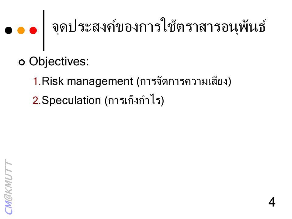 CM@KMUTT 4 จุดประสงค์ของการใช้ตราสารอนุพันธ์ Objectives: 1. Risk management (การจัดการความเสี่ยง) 2. Speculation (การเก็งกำไร)