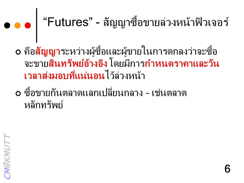 """CM@KMUTT 6 """"Futures"""" - สัญญาซื้อขายล่วงหน้าฟิวเจอร์ คือสัญญาระหว่างผู้ซื้อและผู้ขายในการตกลงว่าจะซื้อ จะขายสินทรัพย์อ้างอิง โดยมีการกำหนดราคาและวัน เว"""