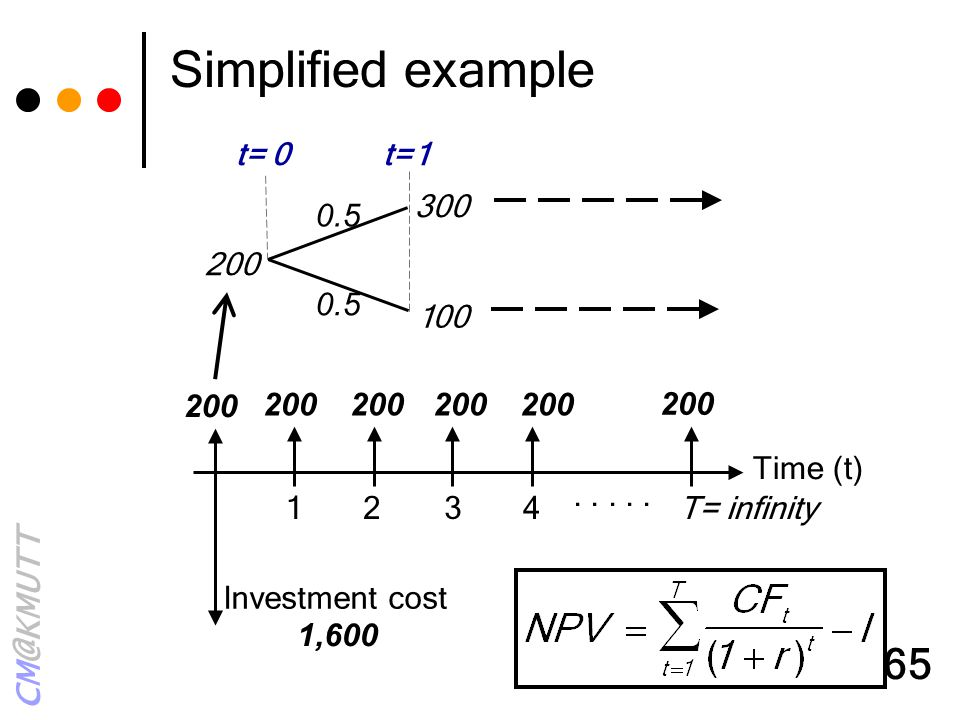 CM@KMUTT 65 Simplified example Time (t) 1234T= infinity Investment cost..... 200 1,600 200 300 100 200 t= 0t=1 0.5 200