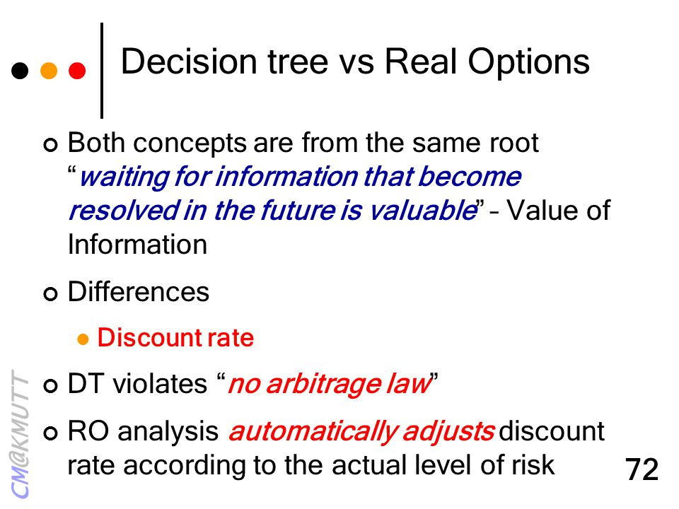 "CM@KMUTT 72 Decision tree vs Real Options Both concepts are from the same root ""waiting for information that become resolved in the future is valuable"