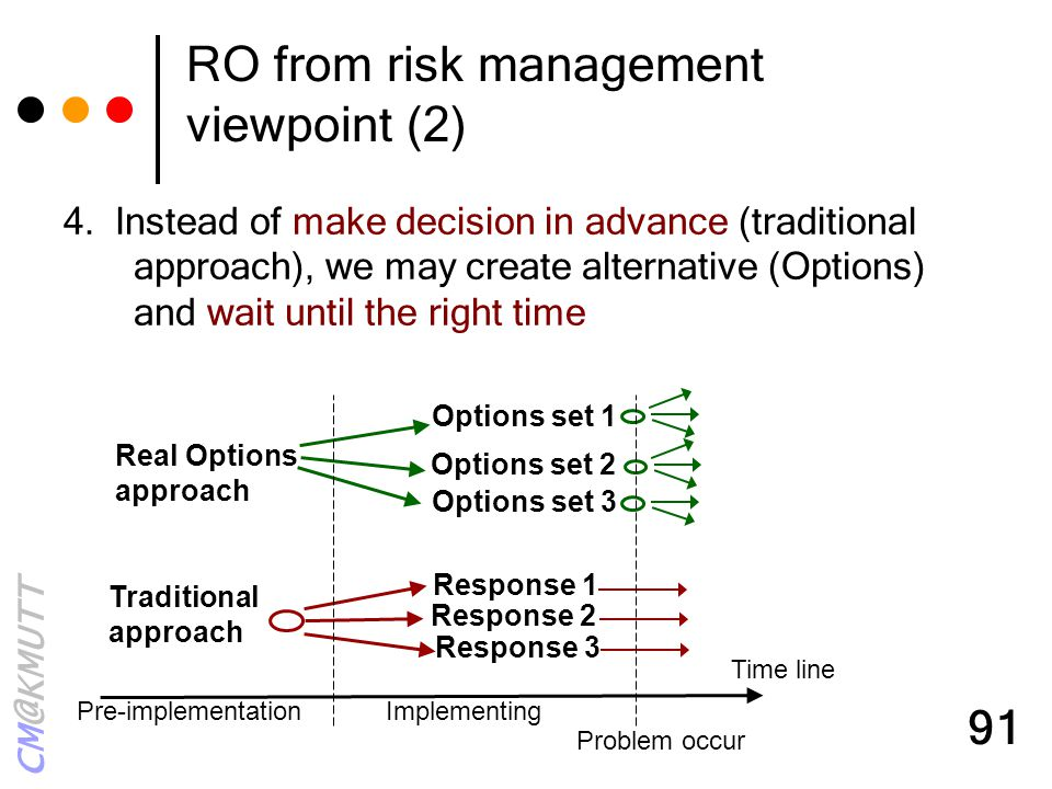 CM@KMUTT 91 RO from risk management viewpoint (2) 4. Instead of make decision in advance (traditional approach), we may create alternative (Options) a