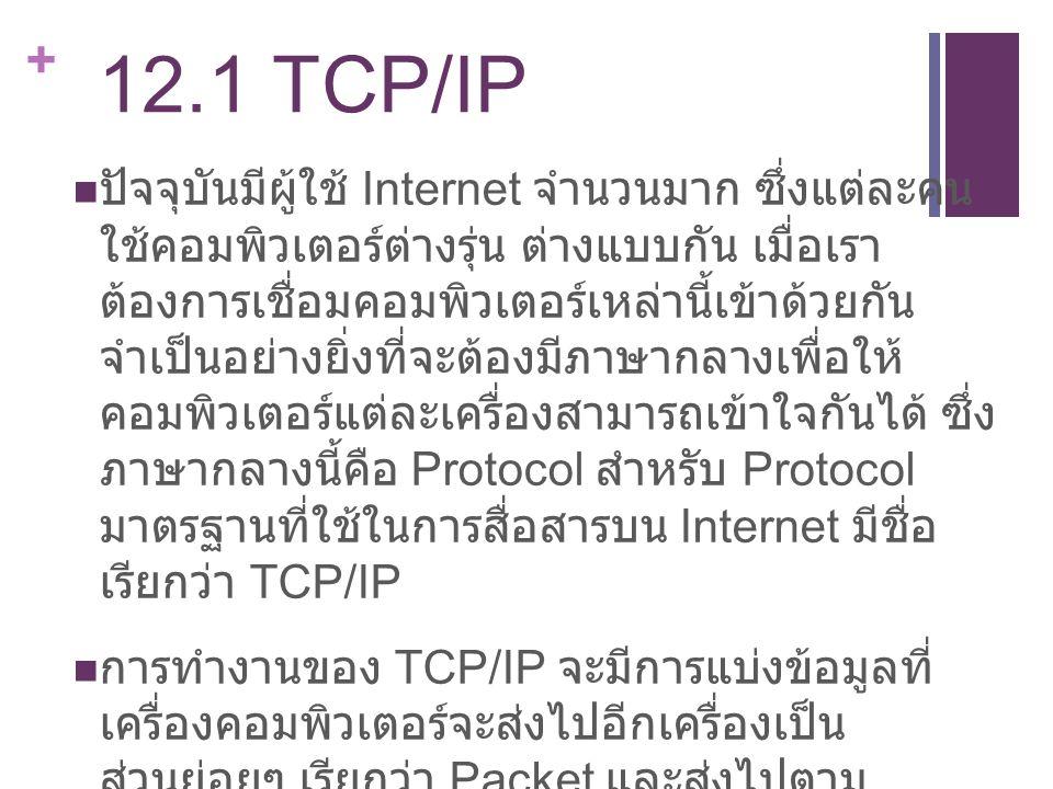 + 12.1 TCP/IP ปัจจุบันมีผู้ใช้ Internet จำนวนมาก ซึ่งแต่ละคน ใช้คอมพิวเตอร์ต่างรุ่น ต่างแบบกัน เมื่อเรา ต้องการเชื่อมคอมพิวเตอร์เหล่านี้เข้าด้วยกัน จำ