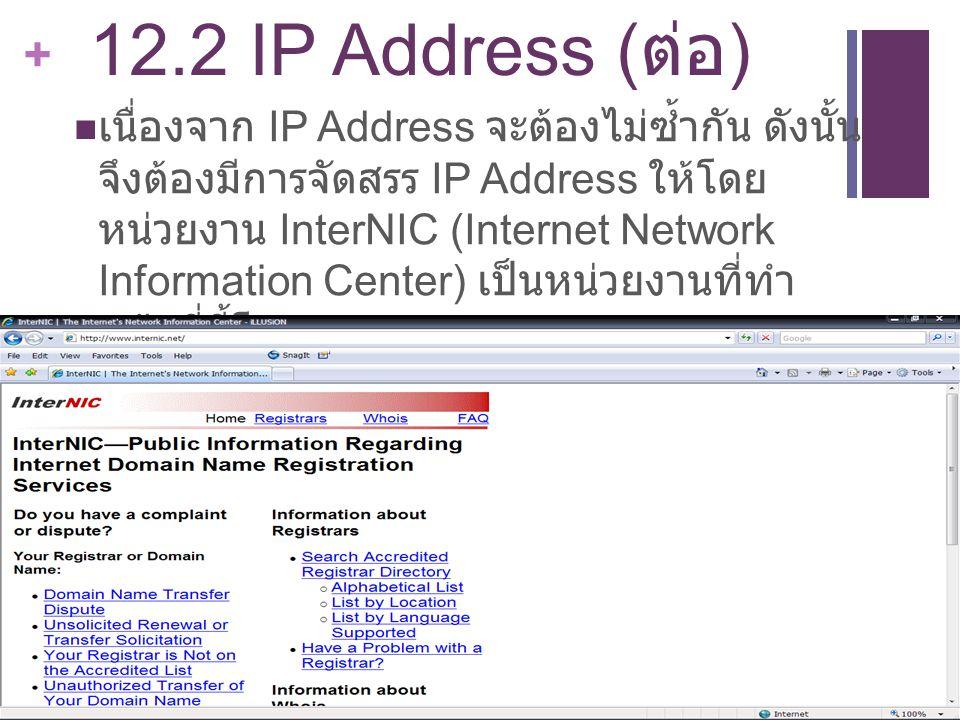 + 12.2 IP Address ( ต่อ ) เนื่องจาก IP Address จะต้องไม่ซ้ำกัน ดังนั้น จึงต้องมีการจัดสรร IP Address ให้โดย หน่วยงาน InterNIC (Internet Network Inform
