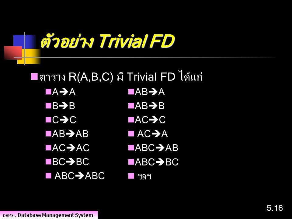 DBMS : Database Management System 5.16 ตัวอย่าง Trivial FD ตาราง R(A,B,C) มี Trivial FD ได้แก่ A  A B  B C  C AB  AB AC  AC BC  BC ABC  ABC AB