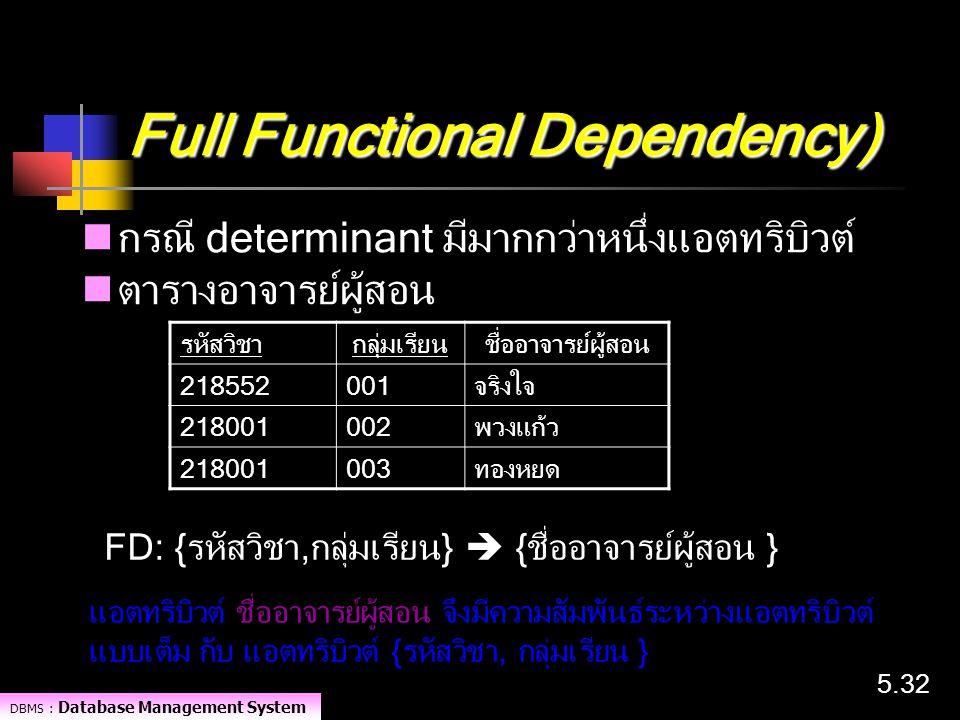DBMS : Database Management System 5.32 Full Functional Dependency) กรณี determinant มีมากกว่าหนึ่งแอตทริบิวต์ ตารางอาจารย์ผู้สอน รหัสวิชากลุ่มเรียนชื่