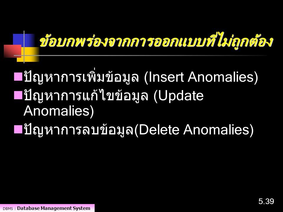 DBMS : Database Management System 5.39 ข้อบกพร่องจากการออกแบบที่ไม่ถูกต้อง ปัญหาการเพิ่มข้อมูล (Insert Anomalies) ปัญหาการแก้ไขข้อมูล (Update Anomalie
