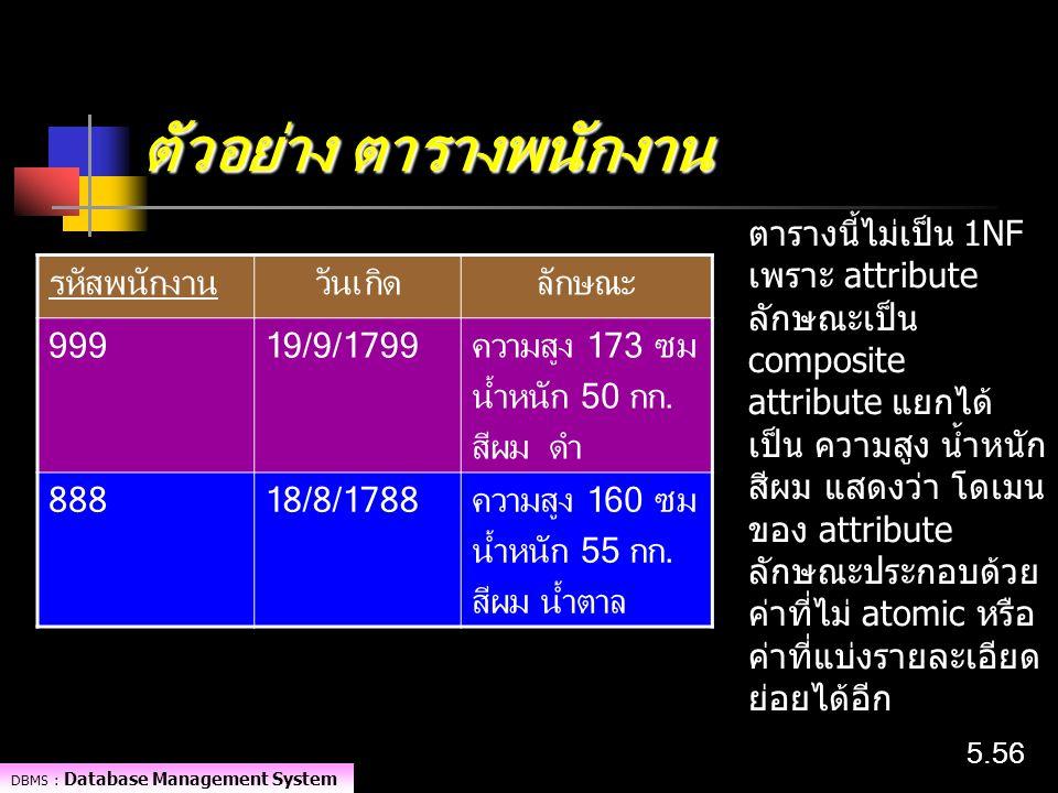 DBMS : Database Management System 5.56 ตัวอย่าง ตารางพนักงาน รหัสพนักงานวันเกิดลักษณะ 99919/9/1799ความสูง 173 ซม น้ำหนัก 50 กก. สีผม ดำ 88818/8/1788คว