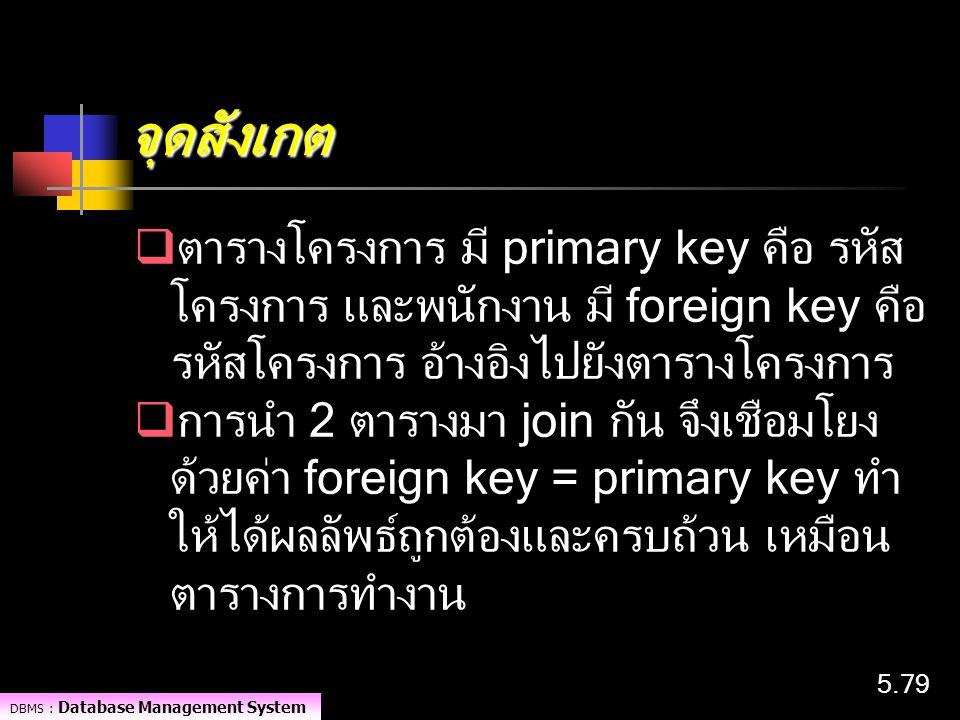 DBMS : Database Management System 5.79 จุดสังเกต  ตารางโครงการ มี primary key คือ รหัส โครงการ และพนักงาน มี foreign key คือ รหัสโครงการ อ้างอิงไปยัง