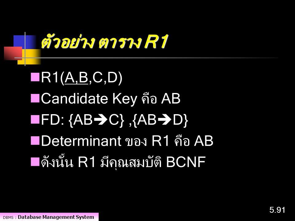DBMS : Database Management System 5.91 ตัวอย่าง ตาราง R1 R1(A,B,C,D) Candidate Key คือ AB FD: {AB  C},{AB  D} Determinant ของ R1 คือ AB ดังนั้น R1 ม