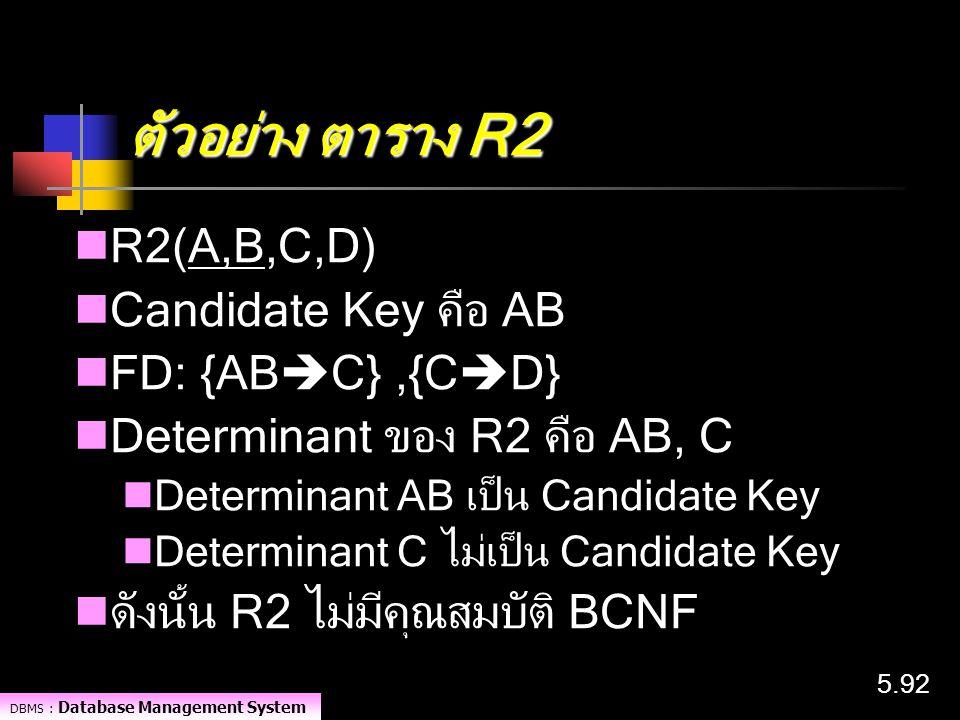 DBMS : Database Management System 5.92 ตัวอย่าง ตาราง R2 R2(A,B,C,D) Candidate Key คือ AB FD: {AB  C},{C  D} Determinant ของ R2 คือ AB, C Determinan