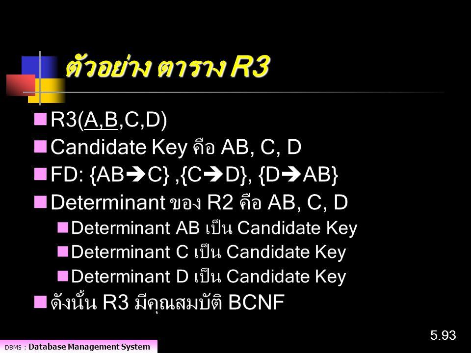 DBMS : Database Management System 5.93 ตัวอย่าง ตาราง R3 R3(A,B,C,D) Candidate Key คือ AB, C, D FD: {AB  C},{C  D}, {D  AB} Determinant ของ R2 คือ
