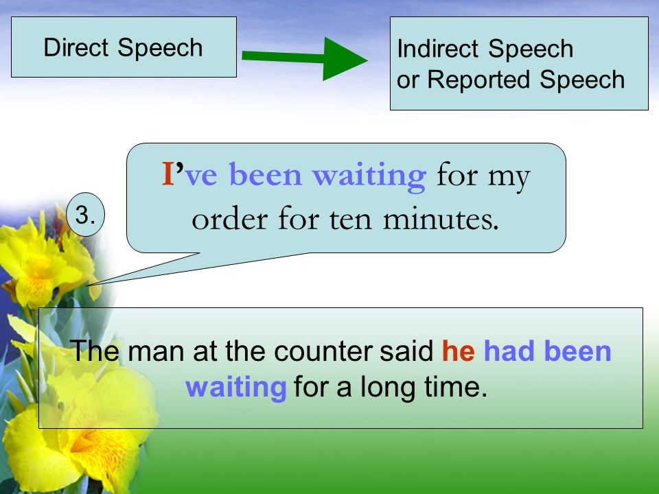 Direct Speech Indirect Speech or Reported Speech The man at the counter said he had been waiting for a long time.