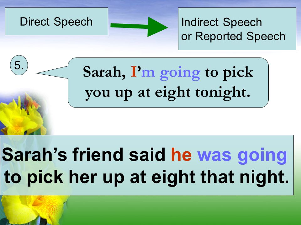 Direct Speech Indirect Speech or Reported Speech The attendant answered the order was almost ready.