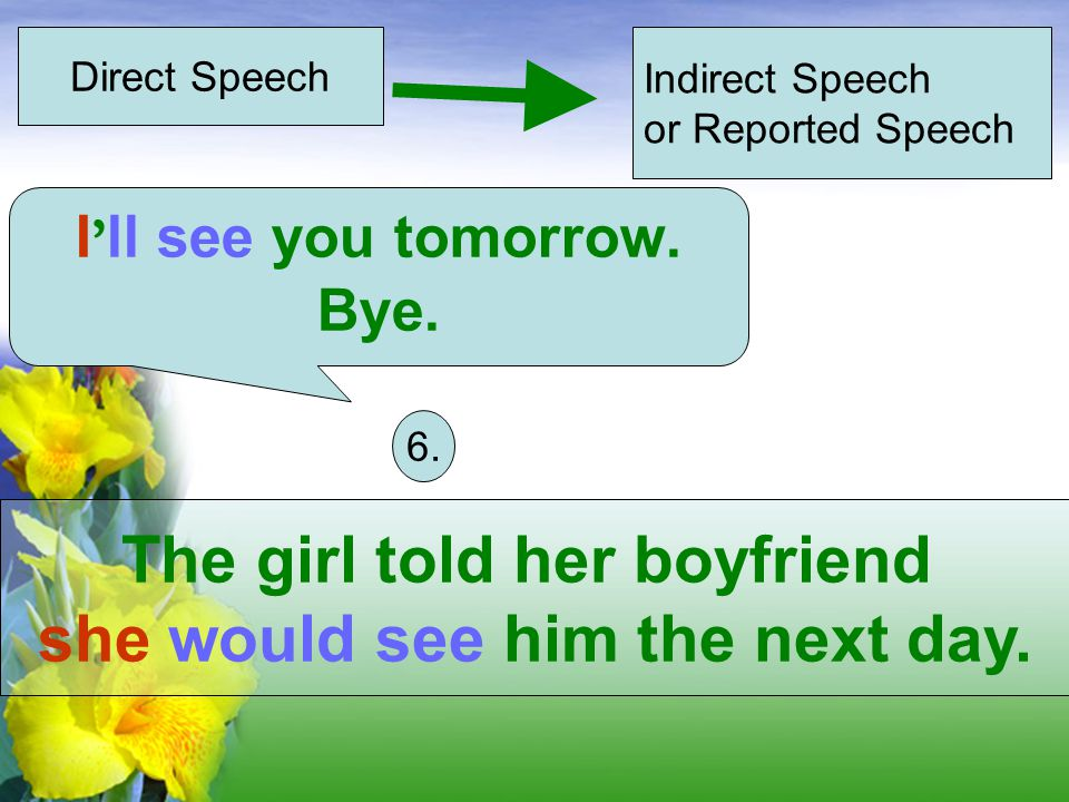 Direct Speech Indirect Speech or Reported Speech The girl told her boyfriend she would see him the next day.