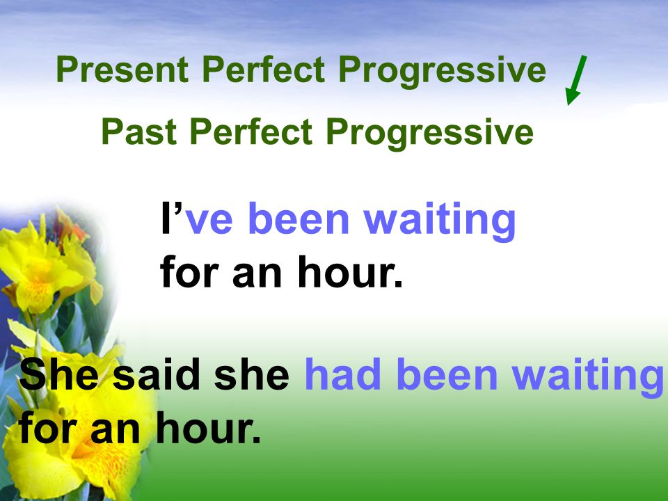 Present Perfect Progressive She said she had been waiting for an hour.