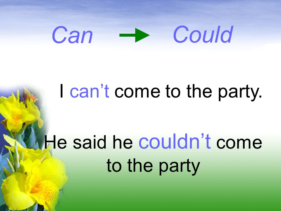 Can I can't come to the party. He said he couldn't come to the party Could