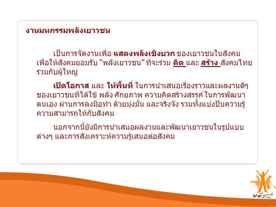"""งานมหกรรมพลังเยาวชน เป็นการจัดงานเพื่อ แสดงพลังเชิงบวก ของเยาวชนในสังคม เพื่อให้สังคมยอมรับ """"พลังเยาวชน"""" ที่จะร่วม คิด และ สร้าง สังคมไทย ร่วมกับผู้ให"""