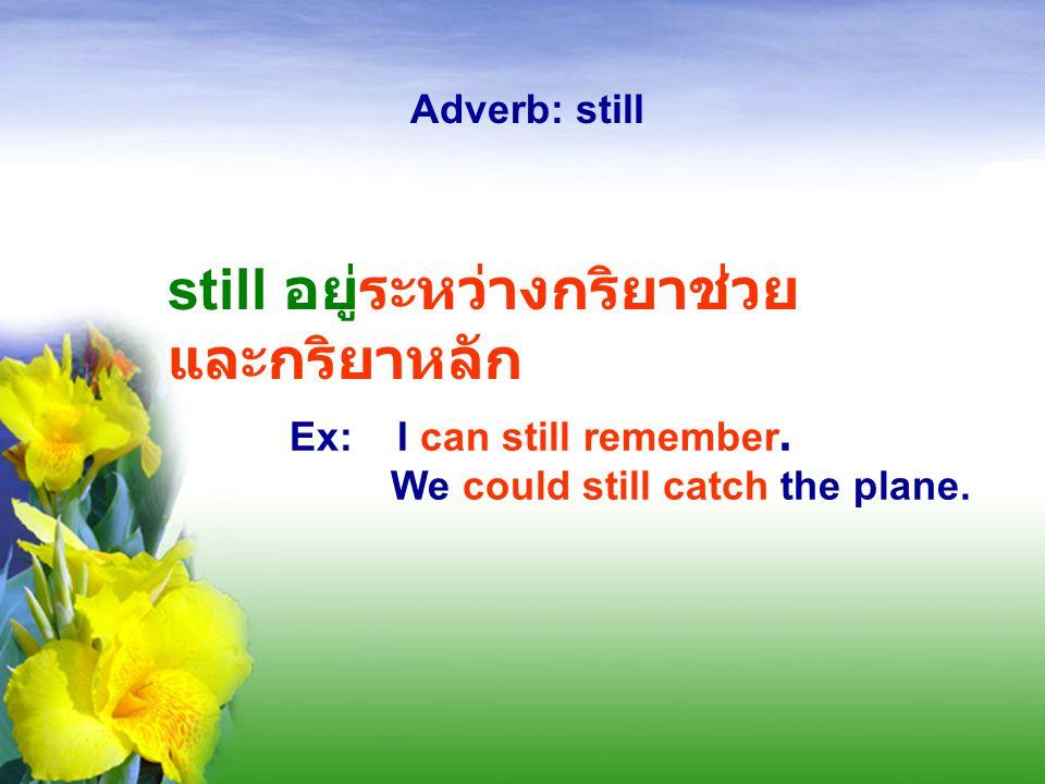 "Press Star to Repeat Adverb: still ประโยคบอกเล่า still จะอยู่หลัง verb ""to be"" Ex: I'm still hungry. still อยู่หน้าคำ กริยาหลัก Ex: They still live th"
