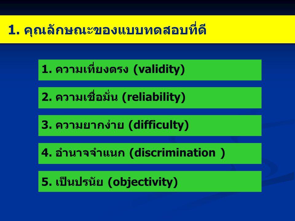 1. คุณลักษณะของแบบทดสอบที่ดี 1. ความเที่ยงตรง (validity) 2. ความเชื่อมั่น (reliability) 3. ความยากง่าย (difficulty) 4. อำนาจจำแนก (discrimination ) 5.
